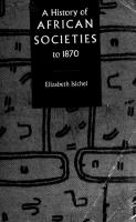 A History of African Societies to 1870 [paperbacked.]  0521455995, 9780521455992