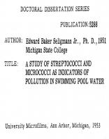 A Study of Streptococci and Micrococci as Indicators of Pollution in Swimming Pool Water