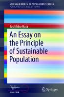 An Essay on the Principle of Sustainable Population [1st ed.]  9789811336539, 9789811336546