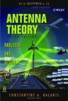 Antenna Theory: Analysis and Design [3ed.]  0471592684, 9780471592686