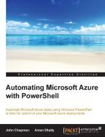 Automating Microsoft Azure with PowerShell  9781784398873, 178439887X
