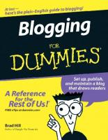 Blogging For Dummies   (For Dummies (Computer Tech))