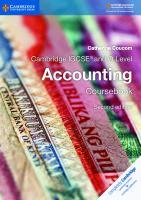 Cambridge IGCSE® and O Level Accounting Coursebook  1316502775, 9781316502778
