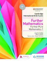 Cambridge International AS & A Level Further Mathematics Further Pure Mathematics 1  9781510422018, 1510422013