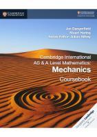 Cambridge International AS & A Level Mathematics: Mechanics Coursebook (Cambridge Assessment International Education)  9781108407267