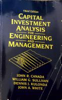 Capital Investment Analysis for Engineering and Management 3rd Edition [3ed.]  013143408X, 2004050537