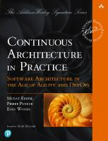 Continuous Architecture in Practice: Software Architecture in the Age of Agility and DevOps (Addison-Wesley Signature Series (Vernon)) [1ed.]  0136523560, 9780136523567
