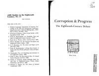 Corruption & Progress: The Eighteenth-Century Debate (Ams Studies in the Eighteenth Century)  0404635113, 9780404635114