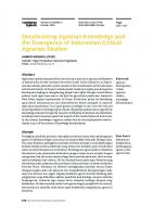 Decolonizing Agrarian Knowledge and the Emergence of Indonesian Critical Agrarian Studies