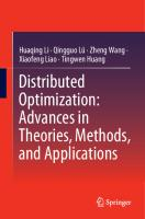 Distributed Optimization: Advances in Theories, Methods, and Applications [1st ed.]