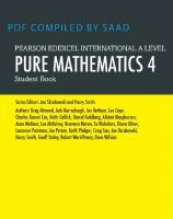 Edexcel International A Level Mathematics Pure 4 Mathematics Student Book  1292245123