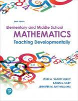 Elementary and Middle School Mathematics: Teaching Developmentally (10th Edition) [10ed.]  013480208X, 9780134802084