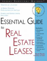 Essential Guide to Real Estate Leases: With Forms  1572481609, 9781572481602, 9780585436937