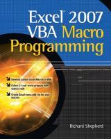 Excel 2007 VBA Macro Programming  9780071627016, 0071627014