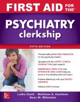 First Aid for the Psychiatry Clerkship [5th Edition]  9781260143409, 9781260143393