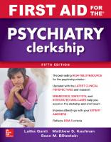 First Aid for the Psychiatry Clerkship, Fifth Edition  9781260143409, 1260143406