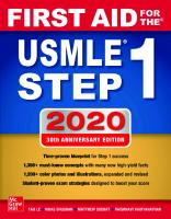 First Aid for the USMLE Step 1 2020, 30th Anniversary Edition [30th ed.]