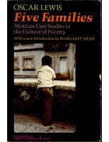 Five Families: Mexican Case Studies in the Culture of Poverty