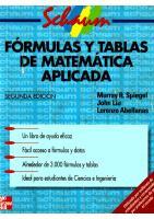 Formulas Y Tablas De Matematica Aplicada (2ed)