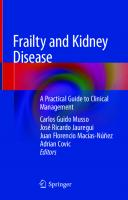 Frailty and Kidney Disease: A Practical Guide to Clinical Management [1st ed.]  9783030535285, 9783030535292