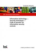 Information Technology - Security Techniques - Code of Practice for Information Security