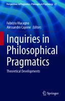 Inquiries in Philosophical Pragmatics: Theoretical Developments  9783030564360, 9783030564377
