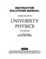 Instructor Solutions Manual for for University Physics [13ed.]  0321697065, 9780321697066