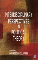 Interdisciplinary Perspectives in Political Theory  9788132106302, 9788132107682