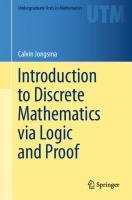 Introduction to discrete mathematics via logic and proof  9783030253578, 9783030253585