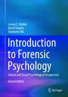 Introduction to Forensic Psychology: Clinical and Social Psychological Perspectives [2ed.]  3030444686, 9783030444686