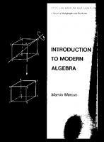 Introduction to Modern Algebra