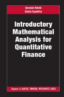 Introductory Mathematical Analysis for Quantitative Finance  081537254X, 9780815372547