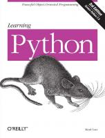 Learning Python, 3rd Edition [3rd edition]