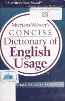Merriam-Webster's Concise Dictionary of English Usage [Abridged]  0877796335, 9780877796336