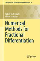Numerical methods for fractional differentiation  9789811500978, 9789811500985