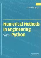 Numerical Methods in Engineering with Python  0521852870, 9780521852876, 9780511128103