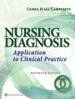 Nursing Diagnosis: Application to Clinical Practice [15th Edition]  9781496348838