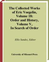 Order and History, Volume 5: In Search of Order