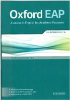 Oxford EAP: A course in English for Academic Purposes (Pre-Intermediate/B1)  0194002071, 9780194002073