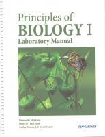 Principles of Biology I Laboratory Manual  9781617406171