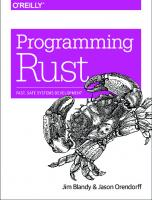 Programming Rust: Fast, Safe Systems Development  9781491927212, 9781491927281, 1111121141, 1491927283