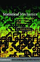 Statistical Mechanics: From First Principles to Macroscopic Phenomena  052182575X, 9780521825757