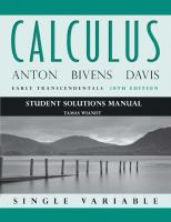 Student solutions manual: to accompany Calculus early transcendentals single variable [tenth edition]  9781118173817, 1118173813