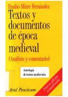 Textos Y Documentos De La Epoca Medieval