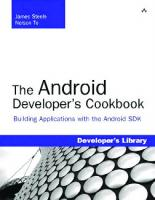 The Android developer's cookbook: building applications with the Android SDK  9780321741233, 0321741234