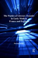The Poetics of Literary Transfer in Early Modern France and England