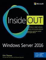 Windows Server 2016 Inside Out  978-1-5093-0248-2